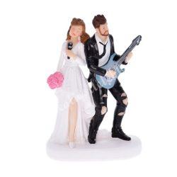 Polyresin esküvői pár, gitárral és mikrofonnal