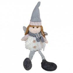 Lógó lábú angyal, ülő, glitteres szárnnyal, fehér, 15x45 cm
