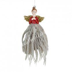 Akasztós dísz, angyal szoknyában, 11x20 cm