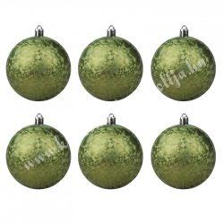 Karácsonyfadísz, gömb, mozaik mintás, oliva, 8 cm, 6 db/doboz