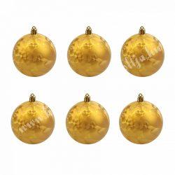 Karácsonyfa dísz, mozaik mintás óarany gömb, 7 cm, 6 db/doboz
