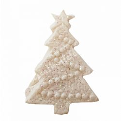 Ragasztható polyresin fenyőfa, fehér, csillámos, 2,3x0,7x3 cm