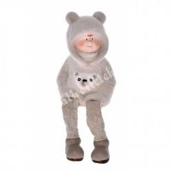 Lógó lábú kisfiú, flokkolt ruhában, 8x14 cm