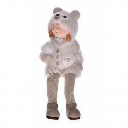 Lógó lábú kislány, flokkolt ruhában, 8x14 cm