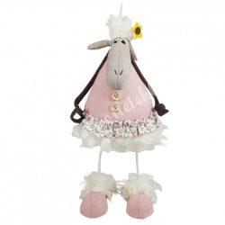 Fém lábon álló bari, rózsaszín ruhában, 25 cm