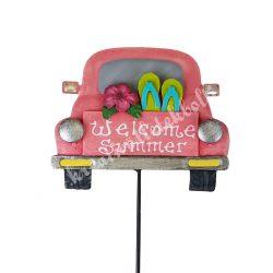 Fém autó, betűzős, pasztell rózsaszín, 21x76 cm