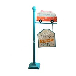 Fém tábla busszal, 101x45x18 cm