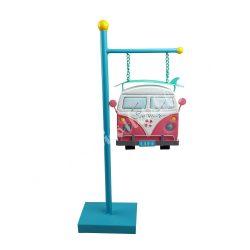 Fém tábla kicsi busszal, 21x43 cm