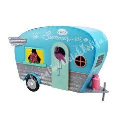 Fém lakókocsi, flamingóval, kék, 29x19,5 cm