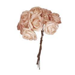 Polifoam rózsa,  barack, 10 szál/csokor