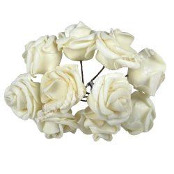 Polifoam rózsa, krém, 10 szál/csokor