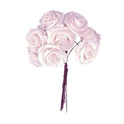 Polifoam rózsa, világos rózsaszín, 10 szál/csokor