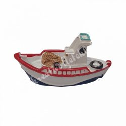 Polyresin csónak, piros, fehér