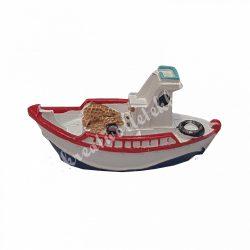 Polyresin csónak, piros, fehér, 6x3,5 cm