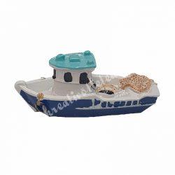 Polyresin hajó, 6x2,5 cm