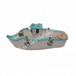 Polyresin csónak, kék, fehér, 6,5x2,5 cm