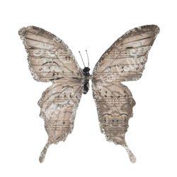 Pillangó csipesszel, glitteres papír, hosszúkás, 5x5,5 cm
