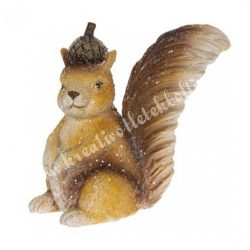 Polyresin mókus makkal, 3,5x6,5 cm