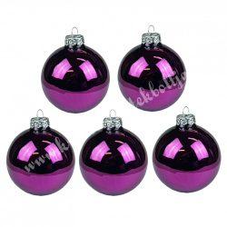 Karácsonyfadísz, üveggömb, szilvalila, fényes, 7 cm, 6 db/doboz