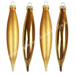 Üvegdísz, csepp, arany, 14 cm, 4 darab