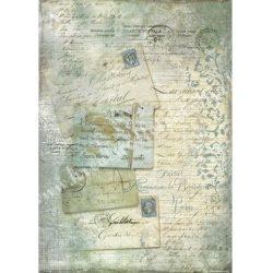 Rizspapír, Kék képeslap csipkével (4220)
