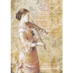 Rizspapír, Steampunk Woman with Violin. A4
