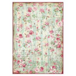 Rizspapír, apró rózsák írásos háttérrel, A4 (4275)