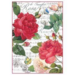 Rizspapír, Vörös rózsa kottával (A4)