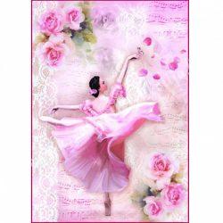 Rizspapír, Ballerina rózsákkal, A4 (4308)