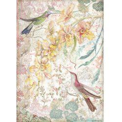 Rizspapír, Sárga orchideák és madarak, A4 (4510)
