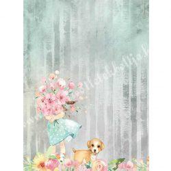 Rizspapír, Szenvedély - Kislány virágcsokorral és kutyussal, A4 (4528)
