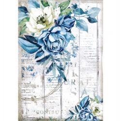 Rizspapír, Romantika - Kék virág, A4 (4560)