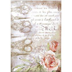Rizspapír, Romantika - Olló és rózsák, A4 (4565)