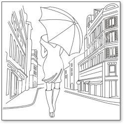 Sziluett rizspapír szalvéta, Nő esernyővel, 50x50 cm