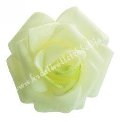 Polifoam rózsa, 3,5x2,5 cm, 25., Krém-zöld középpel