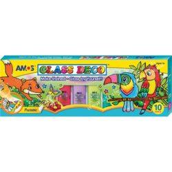 Amos üvegmatricafesték készlet, 9x22 ml+1x40 ml kontúr, 5 minta