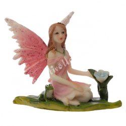 Tündér, békával, rózsaszín, 7,5x5,5x6 cm