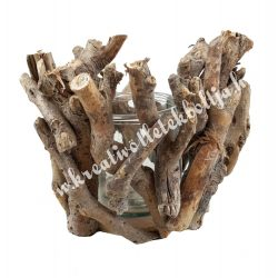 Mécsestartó faágakból, üveggel a közepén, 15x13 cm