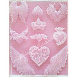 Lágy PVC öntőforma, szívek és szárnyak, A4
