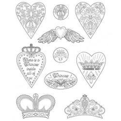 Lágy PVC öntőforma, Szívek és koronák, A4