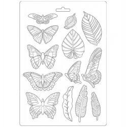 Lágy PVC öntőforma, Levelek és pillangók, A4