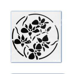 Stencil 145., Virágok, 21x21 cm