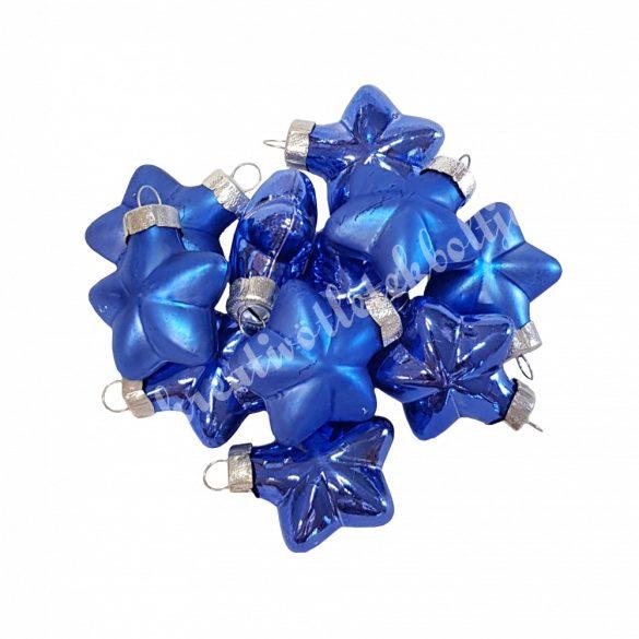 Üvegdísz, csillag, kobaltkék, 4 cm, 12 darab/doboz