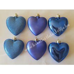 Műanyag szív, kék, 7 cm, 6 darab