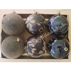 Karácsonyfadísz, gömb, éjkék, 8 cm, 6 darab