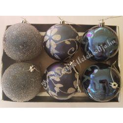 Karácsonyfadísz, gömb, éjkék, 8 cm, 6 darab/doboz