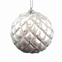 Karácsonyfadísz, gömb, ezüst, gyöngyökkel 10 cm, 2 db/doboz