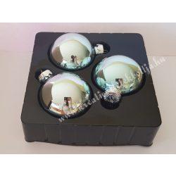 Üveggömb, jégkék, 8 cm, 3 darab