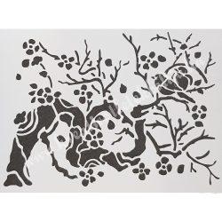 Stencil 63., Madarak az ágon, 20x15 cm