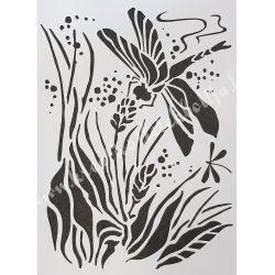 Stencil 62., Szitakötő, 15x20 cm